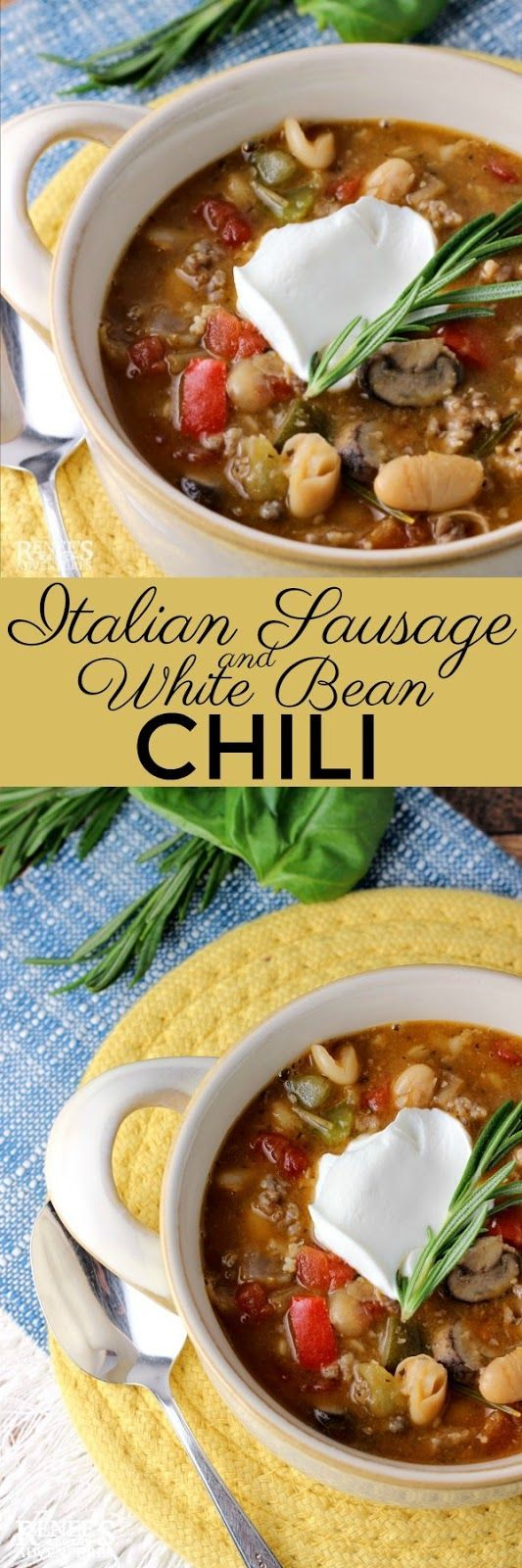 Italian Sausage and White Bean Chili | Posted By: DebbieNet.com