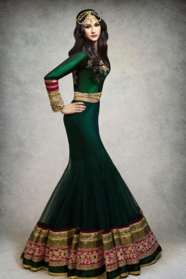 green lehenga, long sleeve lehenga, Kajal's Couture