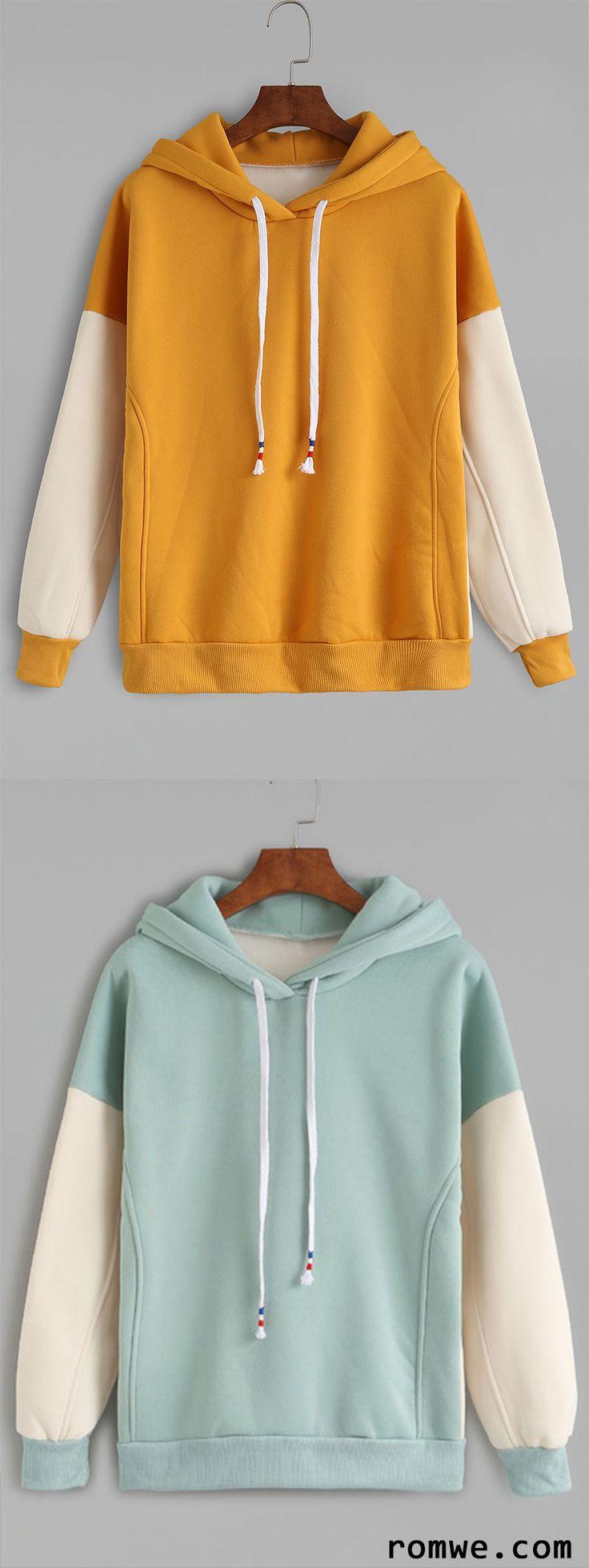 Mustard Contrast Sleeve Drawstring Hooded Sweatshirt http://amzn.to/2k2HTMQ  Celui en bleu est juste magnifique