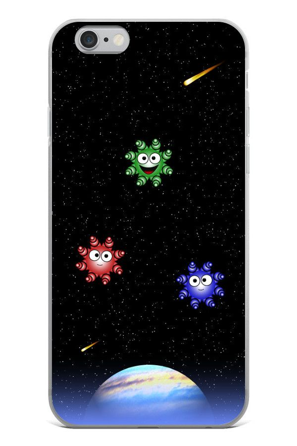 Cute Aliens - iPhone 6 Plus/6s Plus: • Hybrid Thermoplastic Polyurethane (TPU) and Polycarbonate (PC) material • Solid polycarbonate back • Flexible see-through polyurethane sides • Precisely aligned cuts and holes • 0.5 mm raised bezel • Printed in the USA