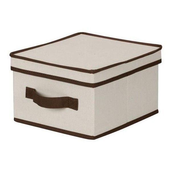 Trimmed Canvas Storage Box with Lid (1630 RSD) ❤ liked on Polyvore featuring home, home decor, small item storage, stackable storage boxes, nesting storage bins, lidded storage boxes, stackable bins and collapsible storage box
