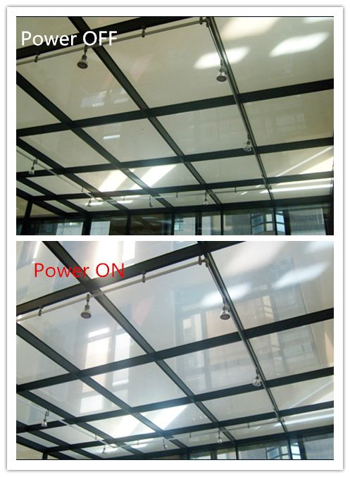 switchable glass for skylight, it can block 99% uv harm rays,protect heat against.  when switch off,it is opaque. when switch on,it is transparent.  people can control smart glass from opaque to transparent by a simple flick of a switch with less than 1 second,also can be remote control by wireless.   email: ytrushui@gmail.com ,skype:adak1573