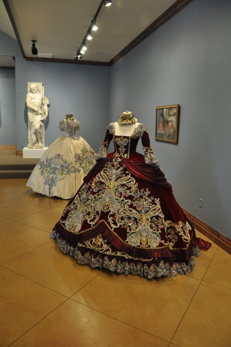 18th Century period Ball Gowns designed by Linda Leyendecker Gutierrez and Niti Volpe for the Society of Martha Washington Colonial Pageant and Ball in Laredo, Texas, 2006