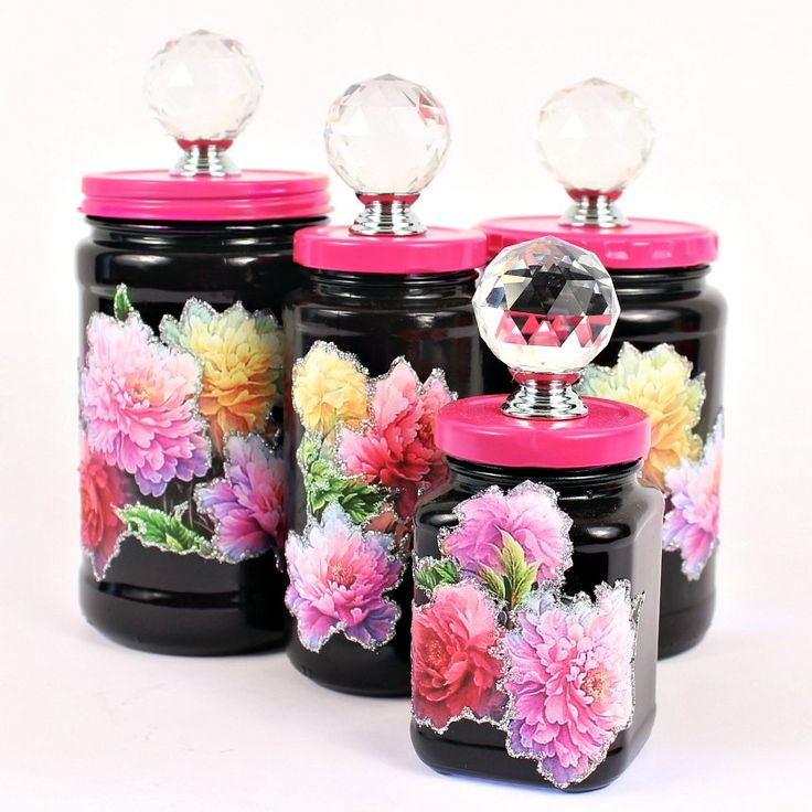 Minus the glitter paint, and toned down a bit, this would be a fun change on a few of my craft room jars -- Turn Jam Jars into Chic Countertop Storage.  Video here: https://youtu.be/1dFrVNBYuDs