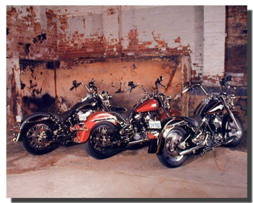 Grace your wall with this wonderful three old Harley Davidson motorcycle art print poster. You can add your own unique style in minutes! This poster goes well with any teen age boy room decor. Hurry up and order this poster for its excellent quality with high degree of color accuracy.