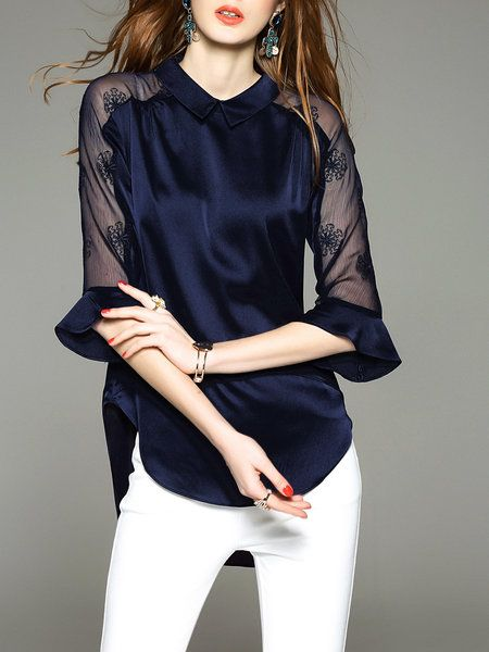 Shop Tunics - Blue 3/4 Sleeve Shirt Collar Tunic online. Discover unique designers fashion at StyleWe.com.