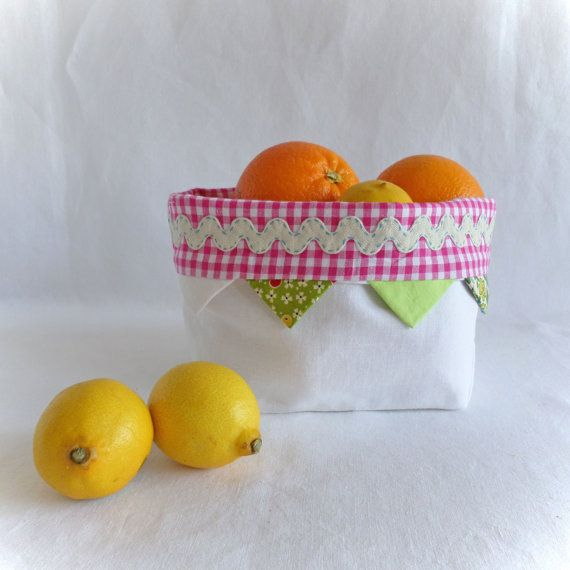 Bread basket, or is it a fruit basket.....in white linen from Join us for Dinner