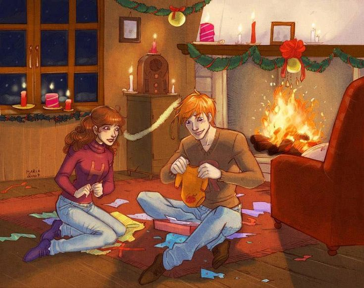 Hermione giving Ron a Chudely Cannons onsie for Chrsitmas and anxiously waiting for him to figure out what it means!!  ( Artwork by: https://mary-dreams.deviantart.com/ )