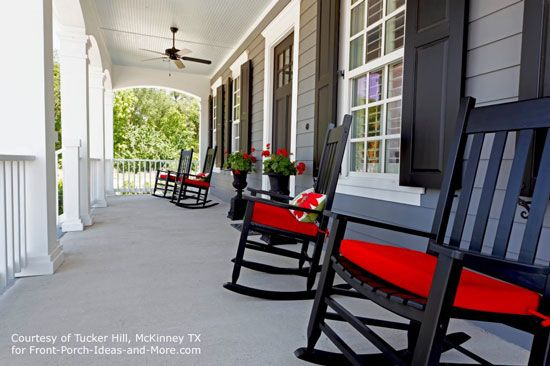 front porch ideas - same for back - black red & white and maybe lime?Black rocking chairs with red cushions - a wonderful pop of color. You can find rocking chair porch homes in Tucker Hill, McKinney TX. Front-Porch-Ideas-and-More.com #porch #rockingchair