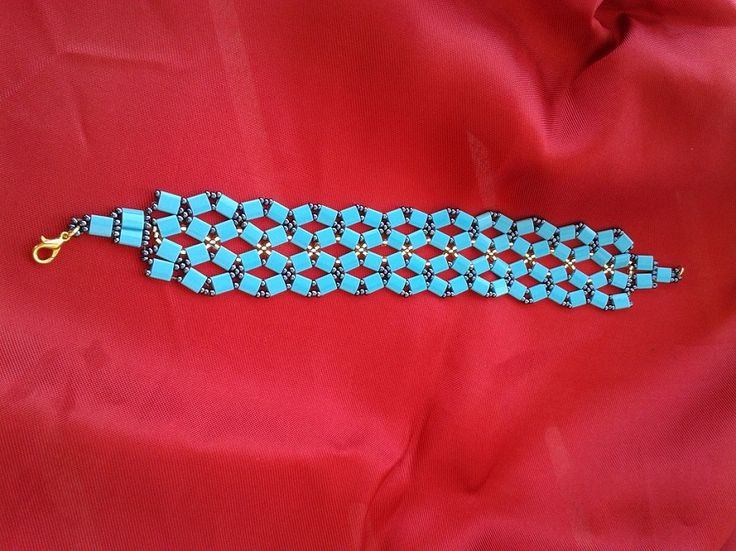 Miyuki Tila Boncuklardan Turkuvaz File Bileklik  Netted Bracelet With Miyuki Tila  Beads Turquoise  | 2014 September