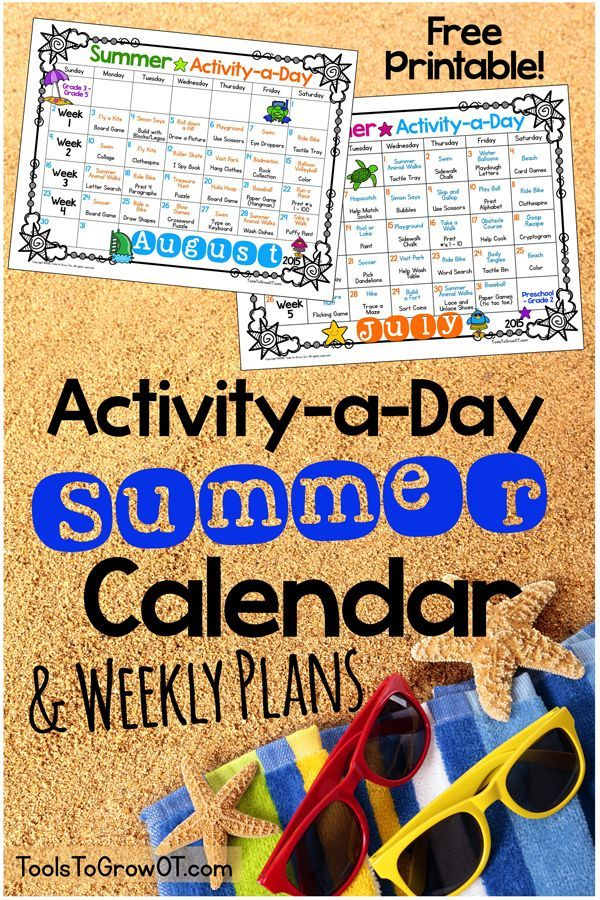FREE Activity-a-Day Summer Calendar with over 100 Fine Motor and Gross Motor Activities for kids! Repinned by SOS Inc. Resources pinterest.com/sostherapy/.