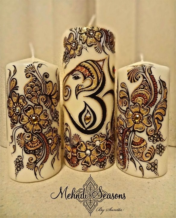 Ganesh Om Candles Gift Set.  For more info or orders contact Sunita on:  T: 07843204974 E: info@mehndi-seasons.co.uk