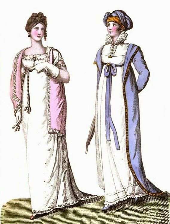 English ball dress and carriage costume  from La Belle Assembée (1807)