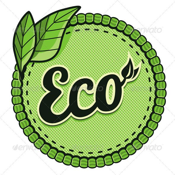 Vector Ecology Label  #GraphicRiver         Vector ecology label – eco sign and text on round sticker.