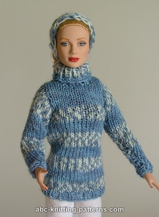 Knitting Pattern Barbie Jumper : ABC Knitting Patterns - Fair Isle Sweater and Headband for Fashion 16 inch Do...