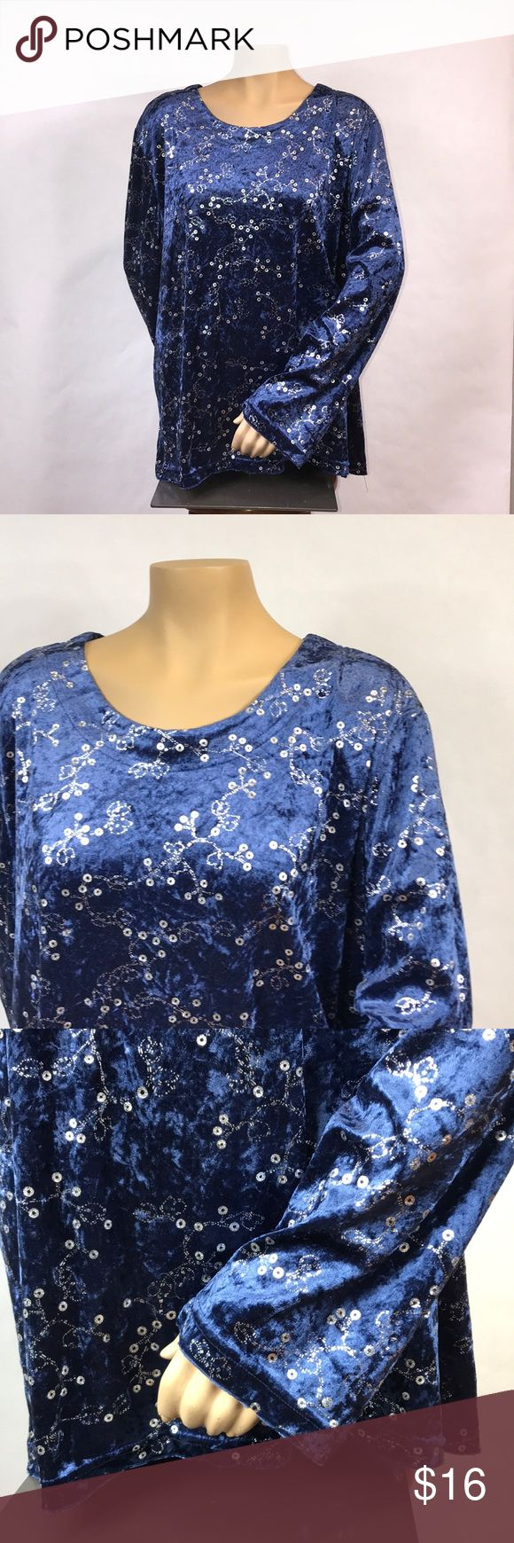 """Salon studio by haband 2X velvet Top Pretty blue crushed velvet look with silver accents.  Was once part of a 2 piece outfit but only selling the shirt.  27"""" armpit to armpit laying flat (loose fitting top) and 27"""" Long. Salon Studio by Haband Tops"""