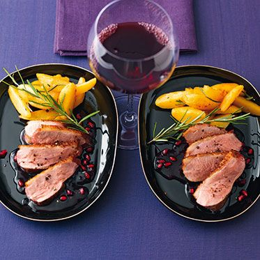 Entenbrust 80° mit Granatapfel-Rotwein-Sauce
