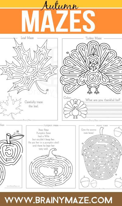 Free Fall Mazes & Activity Pages for Kids!  Turkey Maze and Writing Prompt, Fall Leaf Maze with Tracing, Pumpkin Maze with Poetry, Acorn Maze with Drawing Prompt and Apple Maze too!  Perfect for Fall Unit Studies: http://brainymaze.com/theme-mazes/fall-thanksgiving-mazes/