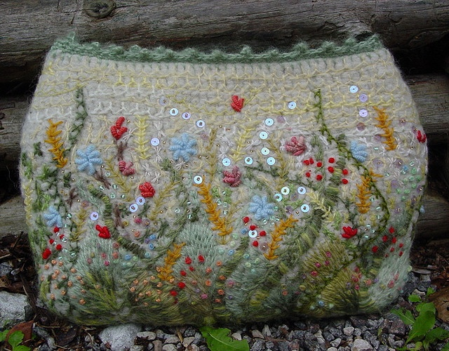 Embroidered wool yarn felted crochet.  Good project for a laptop or tablet.