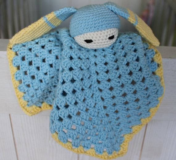 Bunny Baby Comforter blue and yellow by BoxOfBeasts on Etsy