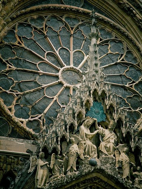 Reims Cathedral - Notre-Dame de Reims (Our Lady of Rheims) Champagne-Ardenne, France - exterior - tracery of the rose window West facade completed 1275