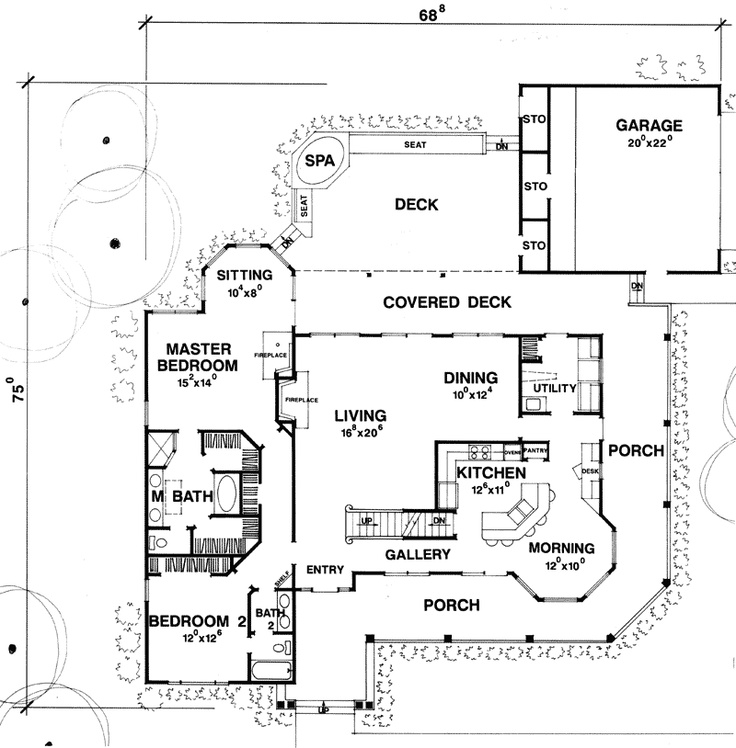 Expansive outdoor living spaces and a built in spa plan Outdoor living floor plans