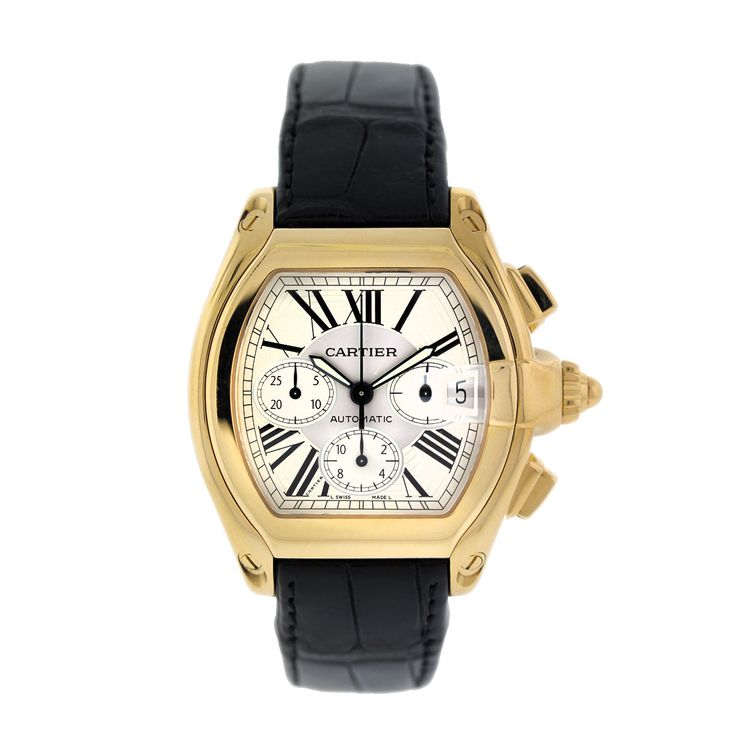 Yellow gold cartier roadster on a black leather strap pre owned