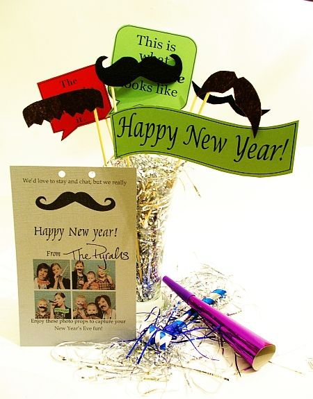 New Year's Eve - Photo op mustache propsMustaches Parties, Eve Photos, Photos Booths Props, Gift Ideas, New Years Parties, Parties Ideas, Photos Props, New Years Eve, Neighbor Gift