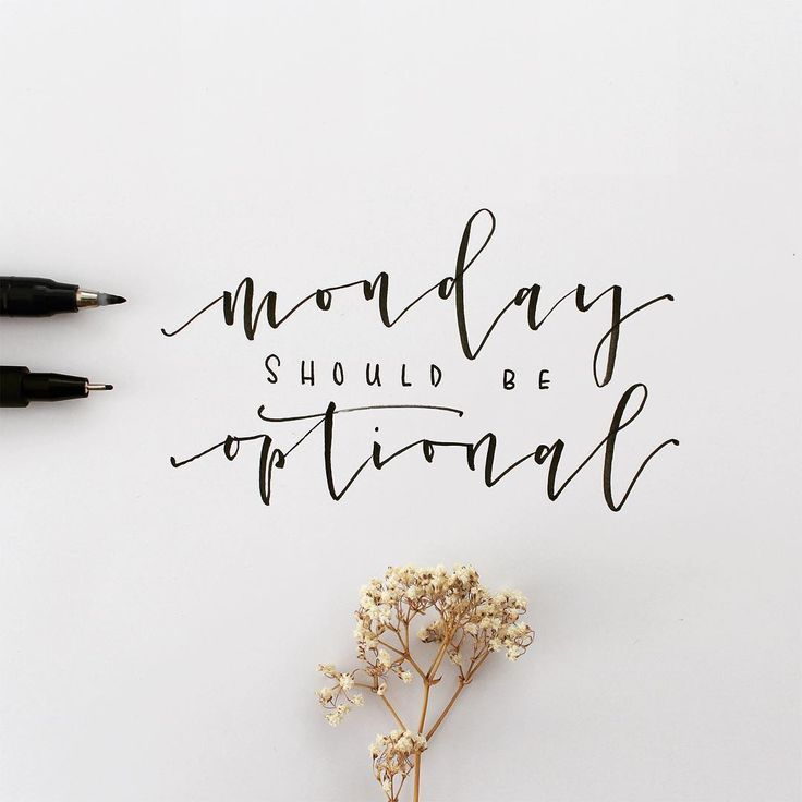 monday should be optional <3 Lettering Tombow Fudenosuke und Faber-Castell PITT - by eineckig.com