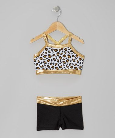 Take a look at this Gold & Black Leopard Sports Bra & Shorts - Girls by Elliewear on #zulily today!