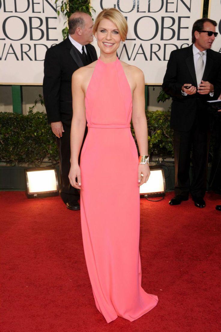 Claire Danes Pink Sheath Halter Red Carpet Evening Dress Golden Globes 2011