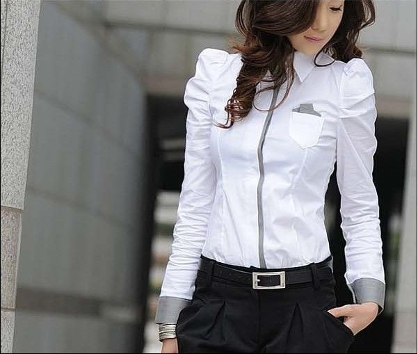 Hot Sell White Women Shirt Sexy Ol Women Fashion Turn Down Collar Shrug Bubble Long Sleeve Slim Cotton Shirt Blouse Top J3729-in Blouses & Shirts from Apparel & Accessories on Aliexpress.com