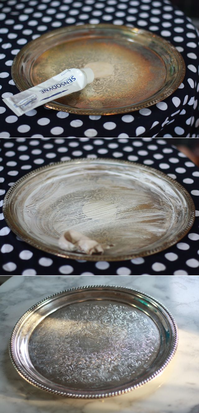 "@Peaches, i think i have this silver tray from my wedding and boy does it need a good cleaning! thanks for ""The Toothpaste Trick."""