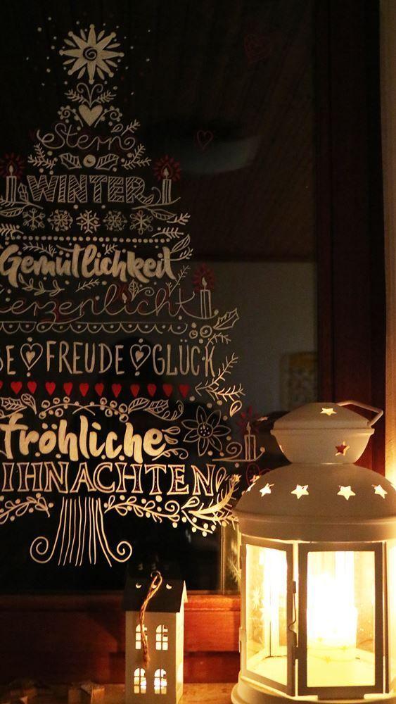 kreide  fensterbilder weihnachten basteln fensterbilder