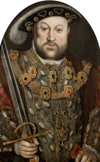 Henry VIII (1491–1547)  by Hans Holbein the younger  (style of)    Date painted: c.1540  Oil on panel, 61 x 58 cm  Collection: Warwick Shire Hall