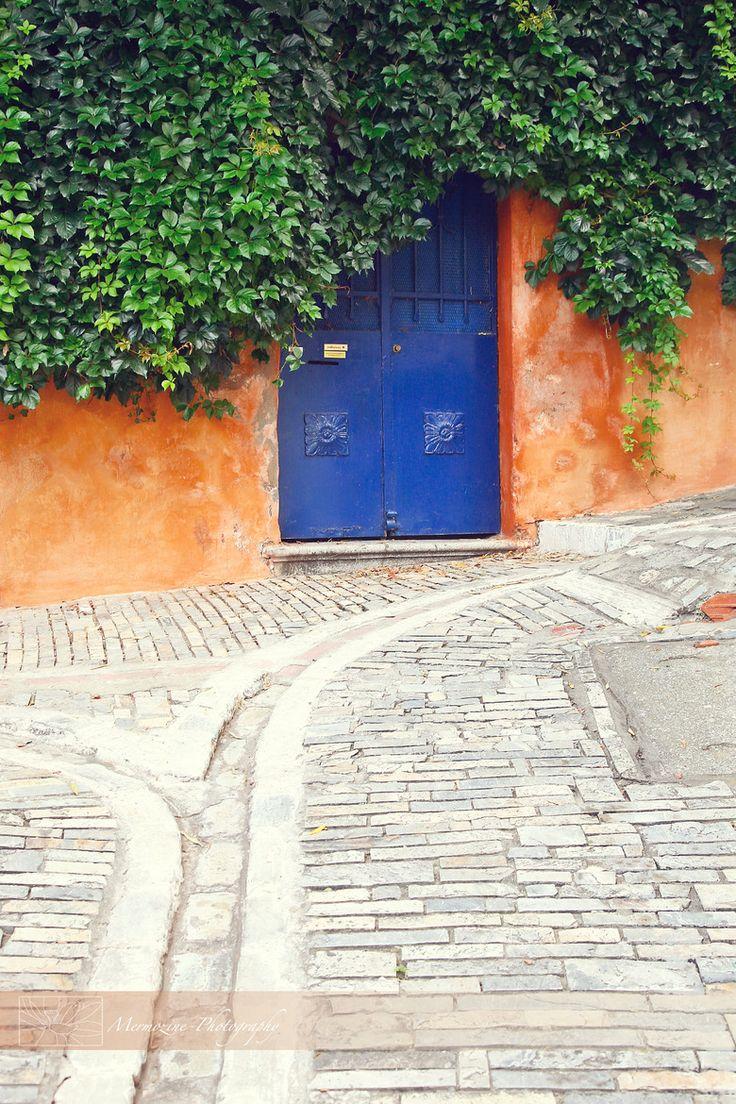 Blue Door in Thessaloniki, Greece