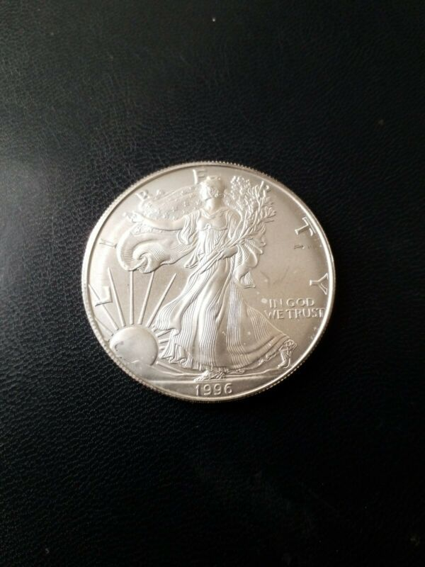 Bullion 1996 Silver American Eagle Coin Bu 1 Oz Us 1 Dollar Mint Uncirculated Spots 06 Eagle Coin Bullion Silver Eagle Coins