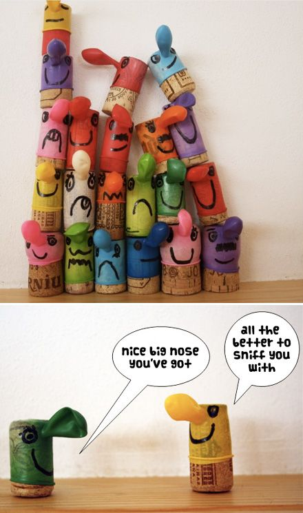 1 bouchon en liège + 1 ballon de baudruche + 1 marqueur noir = un personnage rigolo / Cork + balloon characters. MollyMoo.:
