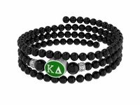 Black Onyx, Sterling Silver Enamel Beads, and Swarovski Crystals are combined to create our Kappa Delta three strand memory wire bracelet. The Sorority bead is cast in solid sterling silver and hand finished to achieve maximum detail. The beads are polished black onyx with a bright semi-gloss surface and the crystal roundels are genuine Swarovski Crystal. Designed by sorority sisters for a fresh clean look. Made in the U.S.A.Sorority Bead Metal: Sterling SilverSorority Bead Color: O