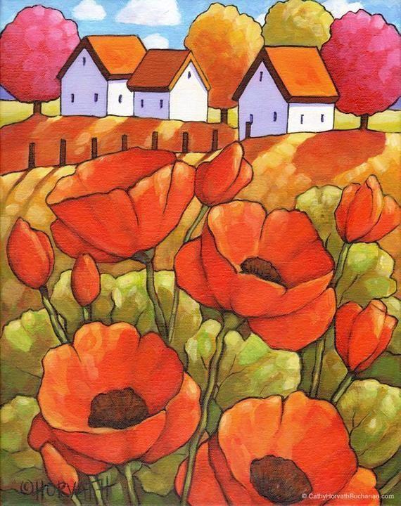 Rote Mohnblumen Original 11 X 14 Kunst Gerahmte Cottage Garden Scenic Landscape Kunst Von Horvath Home Wall Decor Kunstwerk Acryl Auf Leinwand Gema Original Gemalde Kunst Mohnblume