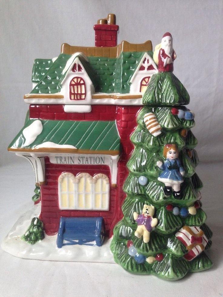 Spode Train Station Cookie Jar Christmas Tree Village 2002 #Spode