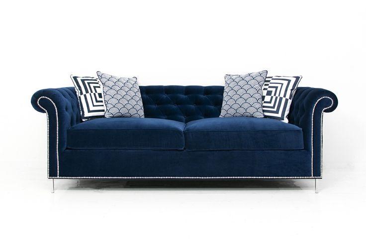 Roosevelt sofa in regal navy velvet furniture seats for Modern victorian sofa