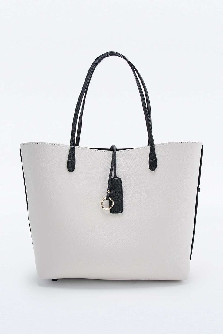 New Reversible Vegan Leather Tote Bag in Black and Ivory