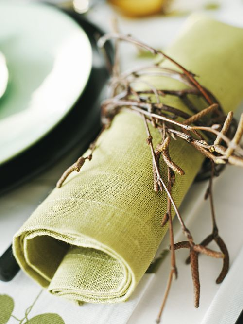 Branches as napkin holders, green & romantic.