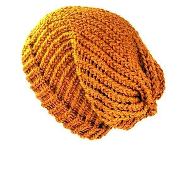 Black and Yellow Hand Crochet SlouchyBeanie Hat Unisex