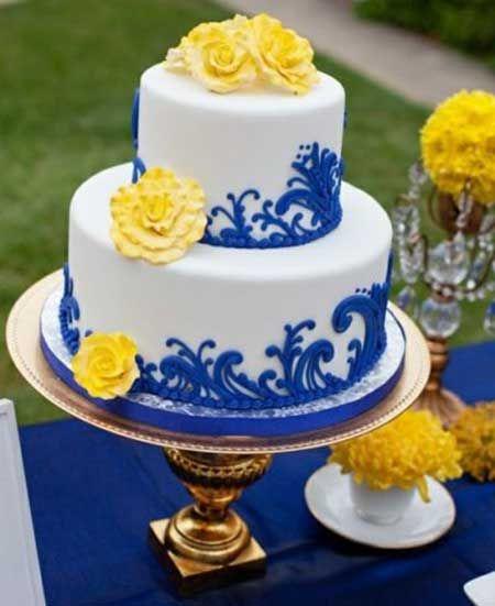 25+ melhores ideias sobre Bolo azul e amarelo no Pinterest Bolo de casamento azul e amarelo