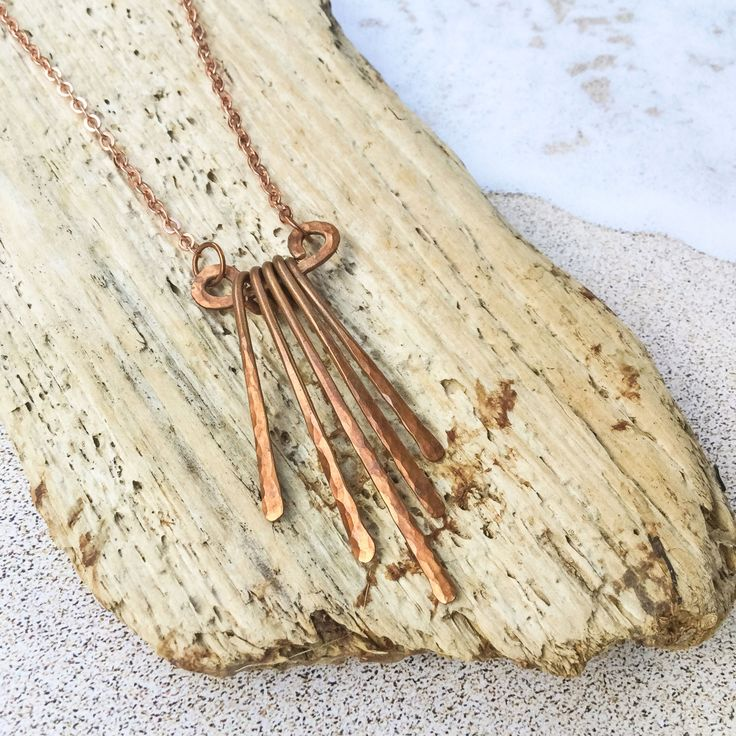 Cascading Copper Necklace - Hammered Copper Cascade Necklace by aeseadesigns on Etsy