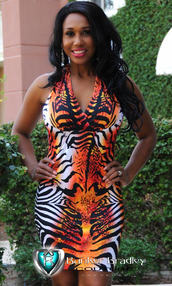 Tiger print halter neck dress at BBC