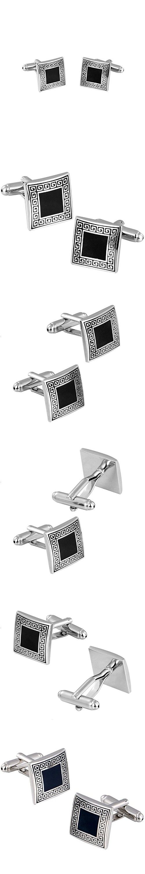Mens Cufflinks Tuxedo Studs and Links Set for Wedding Business Best Gift for Men Silver Carved Pattern