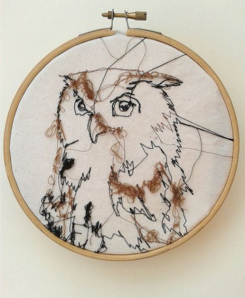 """rosiegeissler: 6"""" Embroidery Owl, For Sale <3on..."""